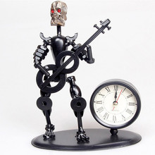 Music Ironman Handmade Metal Crafts Musician Clock Wrought Iron Skeleton Vintage Ancient Desk Personalized For Halloween Gift