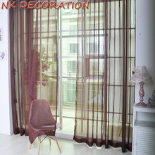 NK DECORATION Hot Sale 2PCS Brown Design Curtain Tulle For Living Room Bedroom Kitchen Window Screening Chiffon Voile Curtain(China)