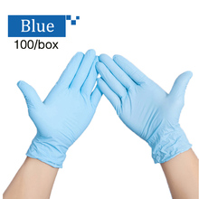 2017 Disposable medical safety gloves garden work kitchen amination household nitrile rubber blue black white Laboratory gloves