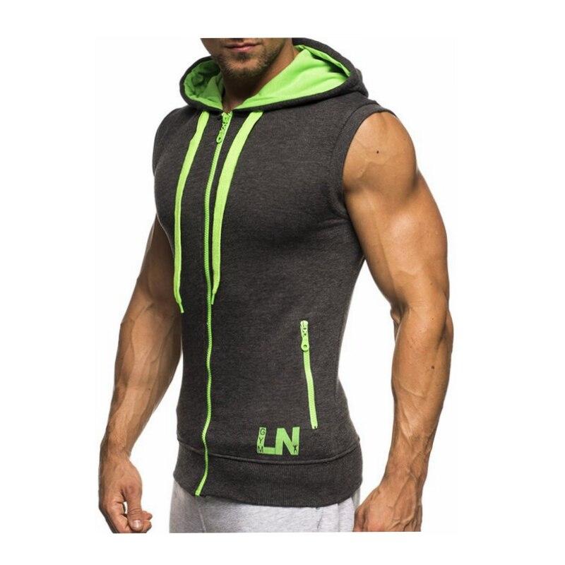 Male Bodybuilding Hoodies Fitness Clothes Hoody Cotton Hoodie Men Sweatshirts Men's Sleeveless Tank Tops Casual Vest 20