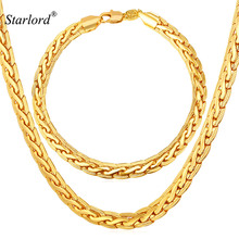 Starlord Bracelet And Necklace Set Men Chain Men Costume Jewelry Trendy Gold Color Dubai Jewelry Sets NH228(China)