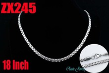 Wholesale - 18Inch stainless steel 4.5mm flat box chain Jewelry man male necklace chains ZX245(China)