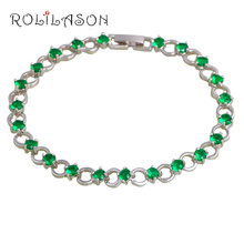 ROLILASON Green Peridot Bracelets for women Round Design Silver Plated Wholesale & Retail Fashion Trendy Jewelry TBS1092