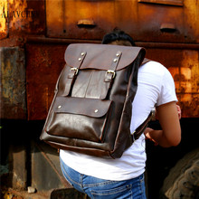 ALAVCHNV retro Madman leather backpack leisure cow leather shoulder bag leather travel computer bag men and women General 030