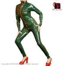 Buy Sexy military latex suit front breasts crotch zipper Rubber Catsuit Jumpsuit Unitard overall BodySuit zentai plus size LT-040