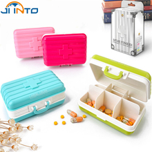 Mini Creative Portable Outdoor Travel suitcase modeling 6 Slots Medicine Box Pill Holder Candy color drug Storage Cases(China)