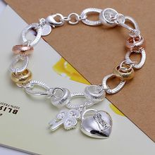 SLH233 Wholesale silver plated bracelet, Factory price fashion jewelry Heart Lock and Flower Key Bracelet /azxajrea(China)