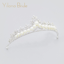 Hot bride crown wedding rhinestone pearl tiara wedding crown crystal hair accessories bride accessories head jewelry(China)