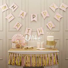Pink Happy Birthday Bunting Banner Party Decorations Set Gold Foil Pink Tissue Paper Tassel Garlands Bulk Baby Shower(China)