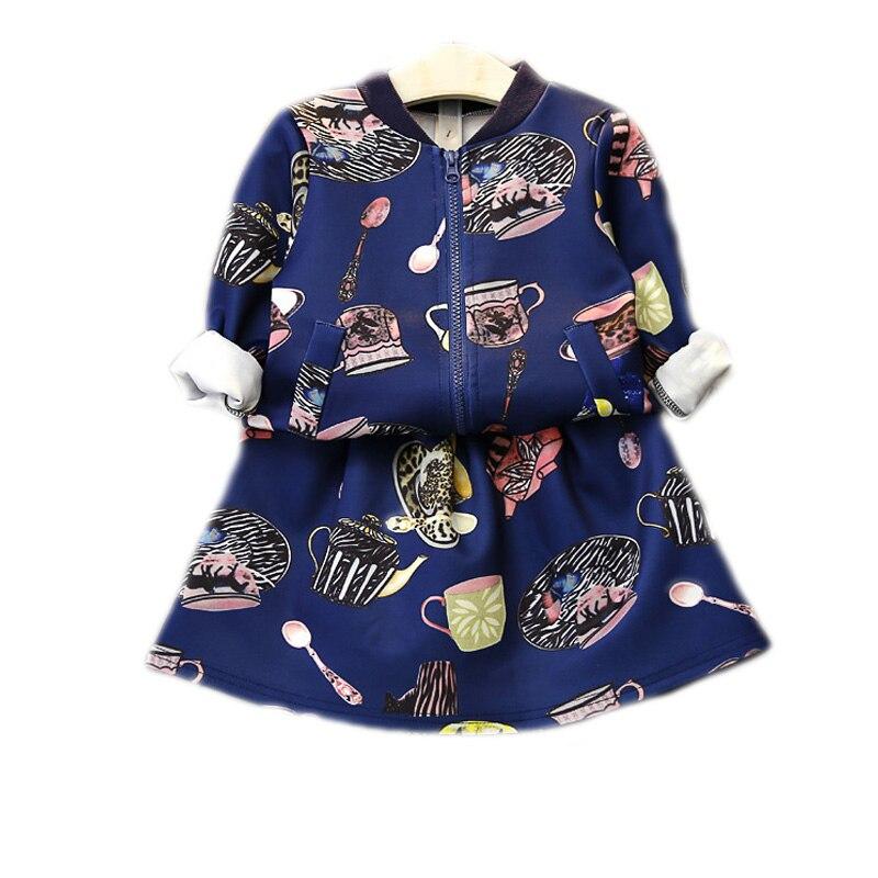 girls clothing sets 2017 new baby girl clothes sets top long sleeve printed zipper jackets+tutu skirt 2pcs girls tracksuits sets<br><br>Aliexpress