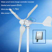 wind generator with 3 blades AC out put 600w 3 blades 1.75m wheel dimeter with low started wind speed(China)