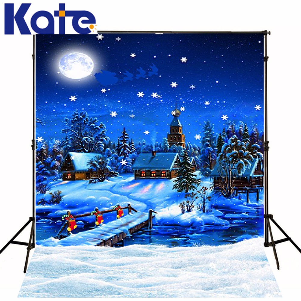 Kate 10x20ft Night Starry Photography Background Village Fantasy Photocall Moon Children Cotton Camera Fotografica Profissional<br>