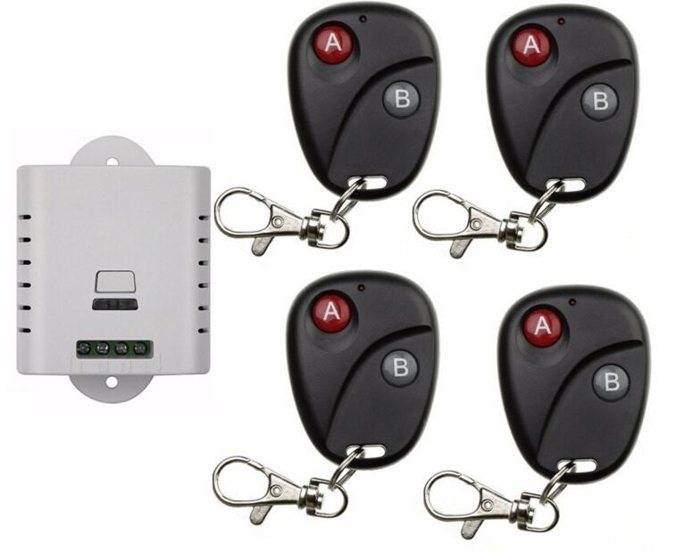 2017 new AC 85v 110v 120v 220v wireless remote control switch with manual button 1 receiver +4 transmitter inter-lock<br><br>Aliexpress