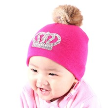 0 to 2 year old baby knitted winter hat cap girl boy kids cotton fuchsia red thermal animal fur pompom children crown beanies
