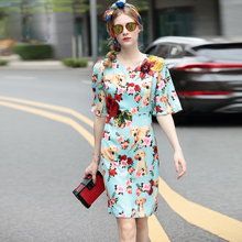 New 2017 High Quality Summer New Fashion Ruwnay Dress Women's Elegant Half Sleeve Rose Flower Embroidery Dog Floral Printed Dres(China)