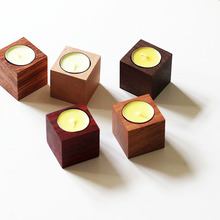 Brief romantic wood Candle Holders  Creative square wood Candlestick furnishings