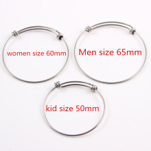 50mm 60mm 65mm 1.6mm Thickness Hot Sale Stainless Steel Expandable Wire Kid Adult Size Bangles Adjustable Wrist Bangle Bracelet