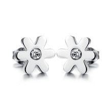One Pair Stainless Steel Earrings Studs Dance Party Accessories Sweet Girl Daisy Design Cubic Zirconia Cute Lovely New Round
