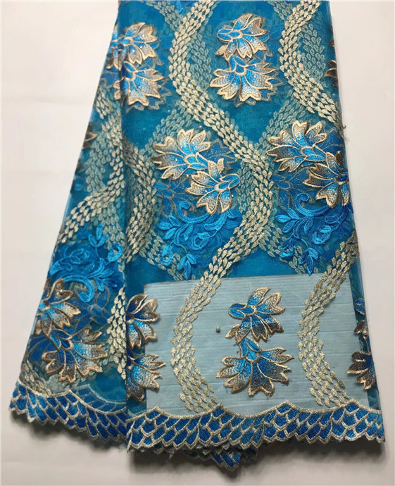 French Net Lace Fabric 2017 Latest african guipure Bead lace fabric embroidery mesh nigerian tulle lace fabric (JY6
