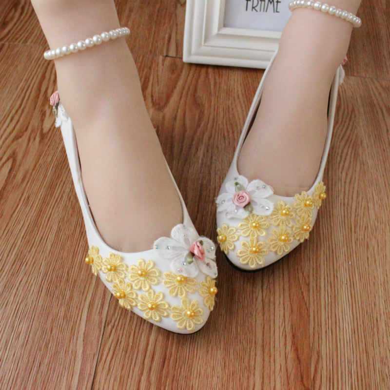 100% cotton handmade Flower Wedding Shoes bride and bridesmaids Low-heeled Shoes White flat performance Shoes Female<br><br>Aliexpress