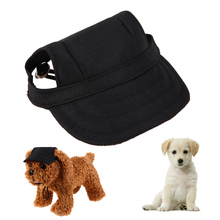 Oxford Canvas Pet Dog Baseball Cap Sun Hat with with Ear Holes Black Denim(China)