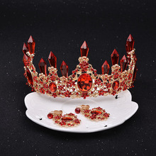 Wedding Large Baroque Red Princess Bride Rhinestone Crown Luxury Crystal Tiaras Bridal Prom Hair Jewelry Accessories