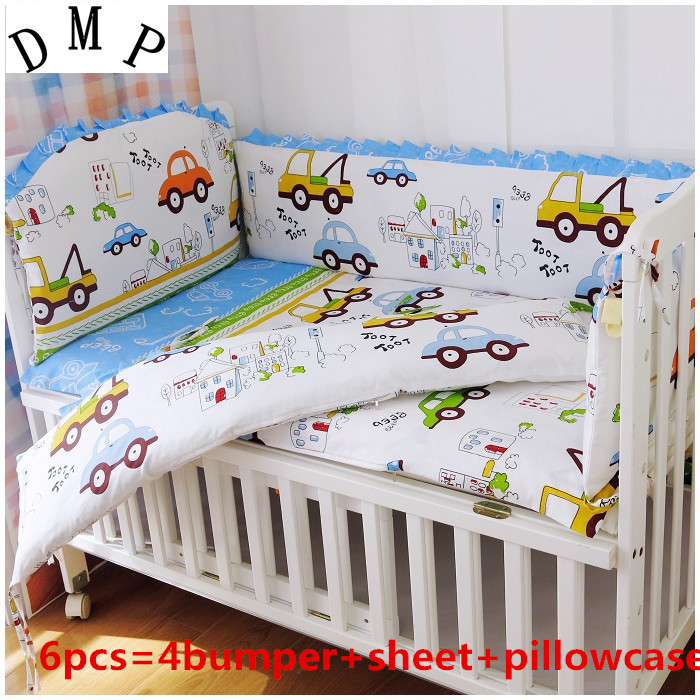 Promotion! 6PCS Cars Cot Bumper,100% cotton baby bedding set unpick and wash the crib set (bumper+sheet+pillow cover)