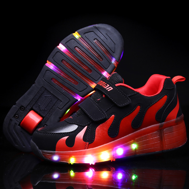 New Popular LED Light Up Roller Skate Shoes Kids Boys Girls Sport Glowing Sneakers with Wheels tenis de rodinha<br>