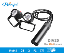 Brinyte DIV20 Led Dive Light CREE XML2 4000lm LED Scuba Canister Diving Torch Flashlight 200M Underwater 8*18650 Battery Lamp(China)