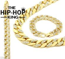 "Silver Gold Tone 15mm 30"" Iced Out Hip Hop Cz Chain Necklace &8.5"" Bracelet Mens Miami Cuban(China)"
