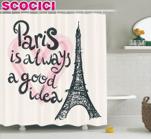 Eiffel Tower Decor Shower Curtain Set Lettering in Heart Fashion Modern Europe Dream Tour Artful Sketch Illustration Bathroom Ac