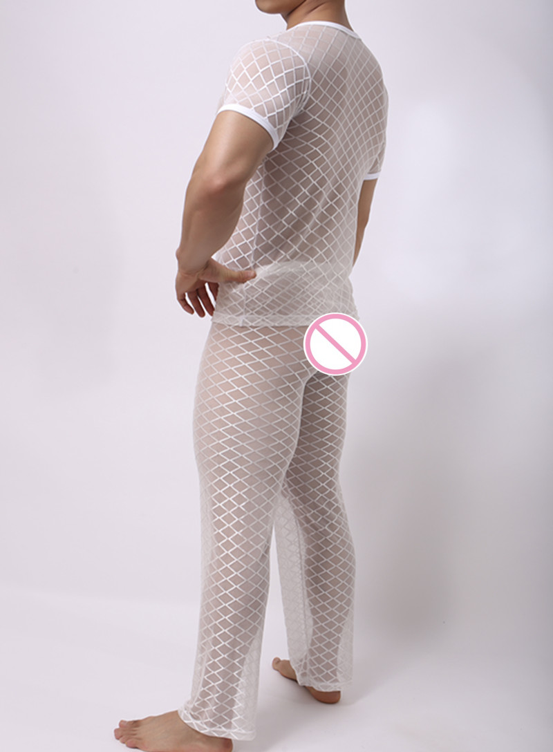 Fashion Mens Mesh Argyle Transparent Sleep Pajama Sets Sexy Bodybuilding Short T Shirts And Long Pants Underwear & Sleepwears
