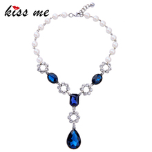 KISS ME Elegant Fashion Simulated Pearls Blue Crystal Water Drops Women Necklace 2017 Party Custom Jewelry(China)
