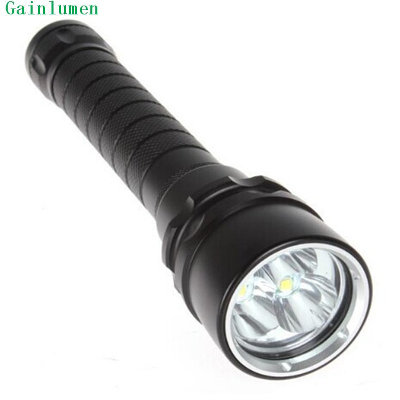 Free Shipping 4000 Lumens 3 x CREE XM-L L2 LED Diving Flashlight Torch Lamp Light for 2 x 18650<br>