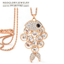 Neoglory Austria Rhinestone Long Pendant Necklace Cute Fish Style Rose Gold Color Elegant Trendy Overcoat For Lady Brand Gift(China)
