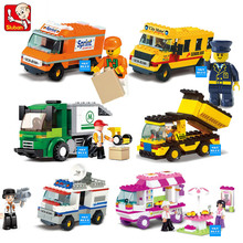 SLUBAN Building Blocks City House Snack Car TV Express Police Truck school bus Brick girls Toy(China)