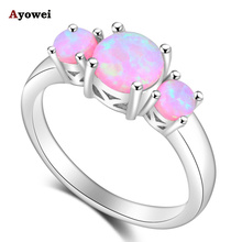 Ayowei Beautiful Gifts for Ladies Pink Fire Opal Silver Stamped High Quality Rings Fashion Jewelry USA Sz#5#6#7#8#9#10 OR854A(China)