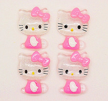 10pcs 22*27mm cute bling pink resin hello kitty flatback cabochon DIY hair bow center scrapbooking(China)