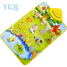 YIQU Modern Cartoon Cute Farm Animal Musical Music Touch Play Singing Gym Carpet Mat Toy Gift For Kids Baby H20