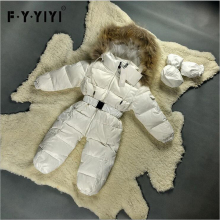6 Colors Babys Rompers Racoon fur collar 90% duck down Romper+Gloves+feet set infant jumpsuit children casacos snowsuit(China)