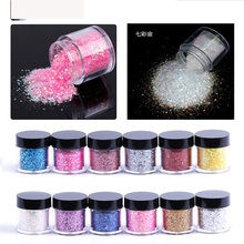 TYQQ Fashion 12Colors Mix size Fine Acrylic Glitter Powder for Nail Art Tips Design , Decoration Glitter Dust Powder (10g Jar)(China)