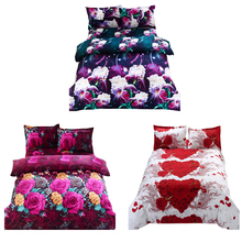 4pcs 2.0M Bedding Set 3D Flower Plant Printed Quilt Cover Comfortable Cover Set Bedspread Cover Bed Sheet housse de couette