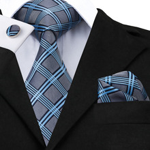 Classic Mens Ties 2016 Blue Darkgray Plaid Tie Hanky Cufflinks Set Hot Selling Ties for Handsome Business Mens' Gift C-400(China)