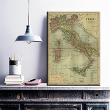 ZZ1972 modern canvas wall art map of italy in english canvas oil art painting wall pictures for livingroom bedroom decoration(China)