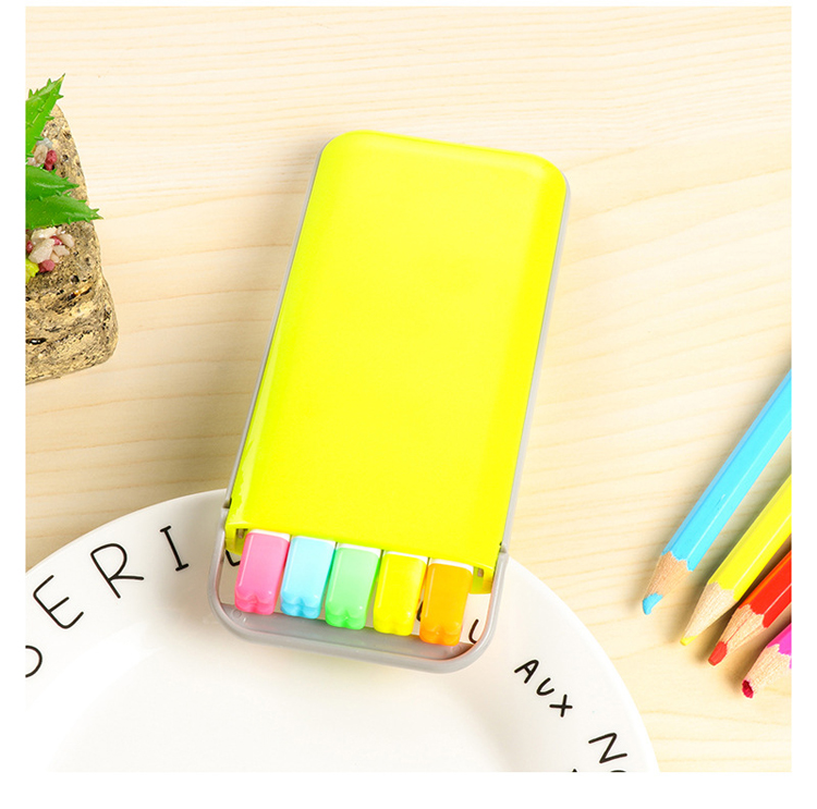 5 pcs/box Kawaii Mini Candy Colors Highlighter Pens Set Cute Kids Painting Drawing Highlighter Art Marker Pen Writing Stationery 8