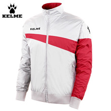 Kelme Men White Red K15S308 Training Woven Wind Raincoats Stand Collar Jacket
