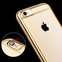 New Electroplating Soft TPU Diamante Edge Phone Back Cover High Quality Phone Case For Iphone 7 7 Plus(China)