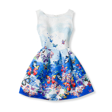 Summer Sleeveless Girls Print Dresses 2017 Princess Dress Girl Clothes For Kids Children Clothing School Dress Size 6 7 8