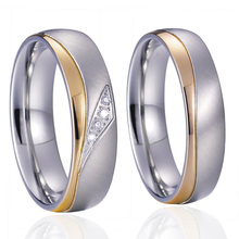 Unique Alliance Anel Ouro Titanium Promise Wedding Band Couple Rings Pair Set for men and women Gold Color Anillos(China)