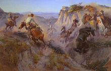 Charles M. Russell Wild Horse Hunter Oil Painting repro